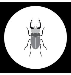 simple black longhorn beetle black icon eps10 vector image vector image
