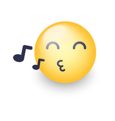 singing smiley face emoji whistles a song vector image vector image