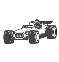 vintage racer car isolated on white background vector image vector image