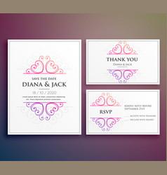 Wedding card invitation design with thank you card vector
