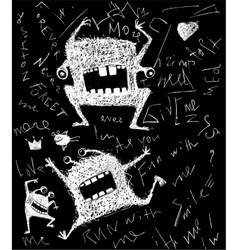 Hairy freaky creature monster monochrome scribble vector