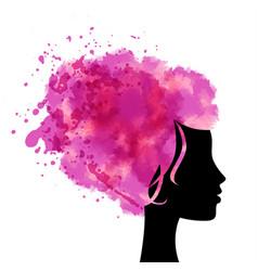 Head with watercolor hear vector