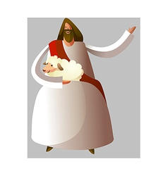 Jesus christ holding sheep vector