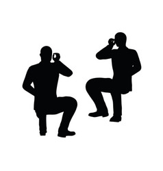 Businessman silhouette at the office pose vector