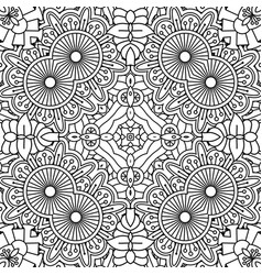 Black and white outline floral pattern vector