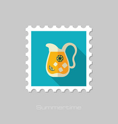Jug of lemonade with slices citrus and ice stamp vector