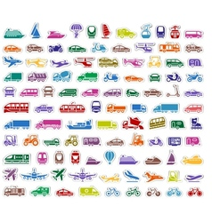 104 transport icons set stickers vector