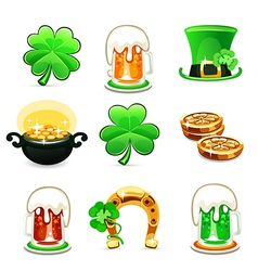 st patricks days icons set on white background vector image