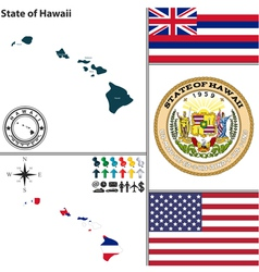 Map of hawaii with seal vector