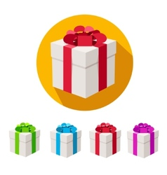 Present boxes set flat design vector