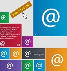 E-mail icon sign metro style buttons modern vector