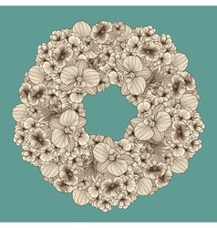Vintage flowers garland vector