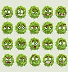 Cute cartoon green cabbage smile vector image