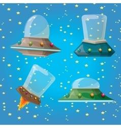 Cartoon flying saucer spaceship ufo set vector