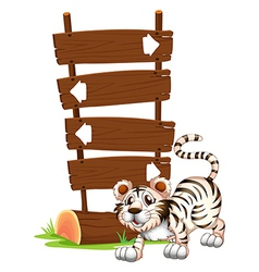 Cartoon Siberian Tiger Signboards vector image vector image