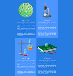 Chemistry and biology posters set with equipment vector