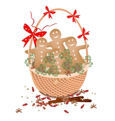 Christmas Gingerbread Man Cookies in Gift Basket vector image