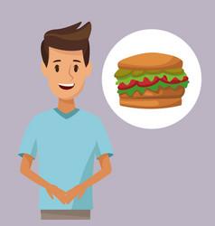 Colorful poster half body man and icon hamburger vector