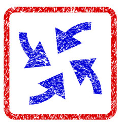 Cyclone arrows grunge framed icon vector