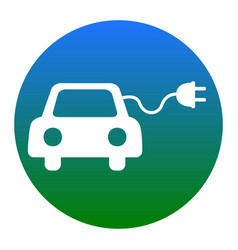 Eco electric car sign white icon in vector