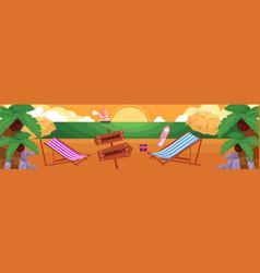 flat tropical sea beach vacation panorama vector image