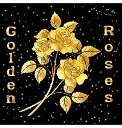 Flowers bouquet golden roses vector