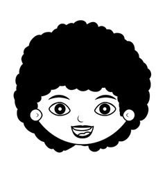 Front face girl silhouette with curly black hair vector