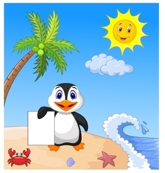 Happy penguin holding blank paper vector