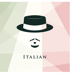 italian men avatar on italian flag background vector image vector image