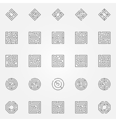Maze icons set vector image