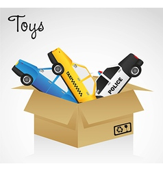 open cardboard box whit car toys vector image