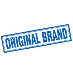 Original brand blue square grunge stamp on white vector