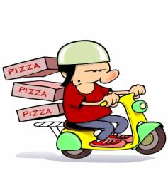 pizza delivery boy vector image vector image