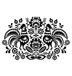Polish floral embroidery with roosters vector image vector image