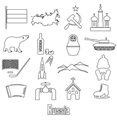 Russia country theme outline symbols icons set vector