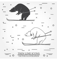 Set of skiing bear icons vector image