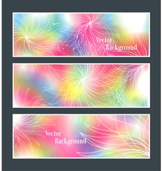 Set of three banners abstract headers with flowers vector image vector image