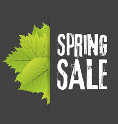 Spring sale poster with green leaf banner template vector