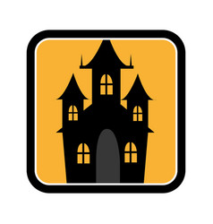 Square frame of halloween with scary casttle vector