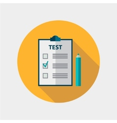 test flat design icon isolated education vector image
