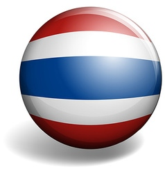 Thai flag on round badge vector
