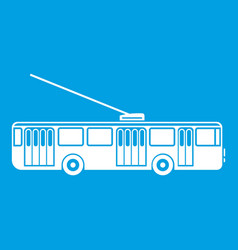 Trolleybus icon white vector