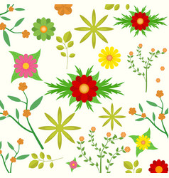 Various flowers bouquet and leaves in spring vector