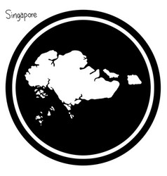 white map of singapore on black vector image