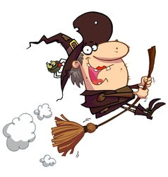 Witch Rides Broom vector image vector image