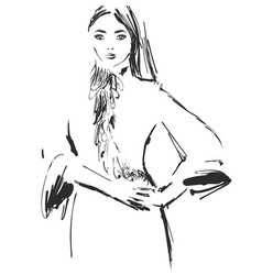 Woman in a dress fashion models sketch vector