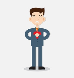 Young man with strong heart attack vector image