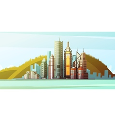 Cartoon panorama of hong kong center vector