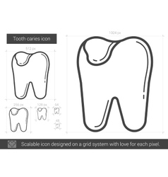 Tooth caries line icon vector
