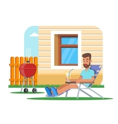 man cooking barbecue and vector image